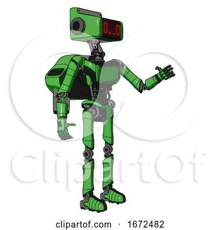 Robot Containing Dual Retro Camera Head and Clock Radio Head and Light Chest Exoshielding and Ultralight Chest Exosuit and Rocket Pack and Ultralight Foot Exosuit. Secondary Green Halftone. by Leo Blanchette