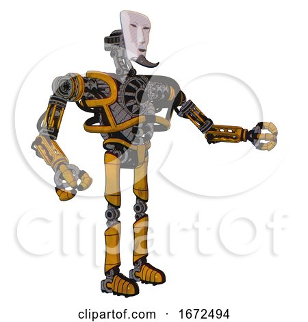 Droid Containing Humanoid Face Mask and Heavy Upper Chest and No Chest Plating and Ultralight Foot Exosuit. Worn Construction Yellow. Interacting. by Leo Blanchette