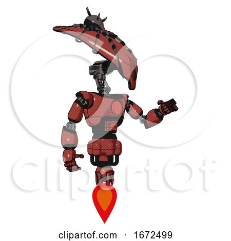 Android Containing Flat Elongated Skull Head and Spider Crown and Light Chest Exoshielding and Red Chest Button and Jet Propulsion. Light Brick Red. Interacting. by Leo Blanchette