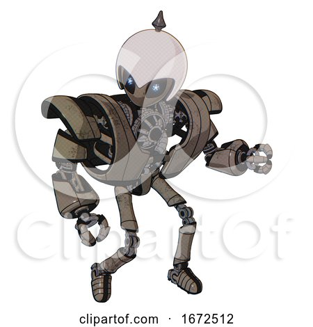 Droid Containing Grey Alien Style Head and Electric Eyes and Helmet and Heavy Upper Chest and Heavy Mech Chest and Ultralight Foot Exosuit. Patent Khaki Metal. Fight or Defense Pose.. by Leo Blanchette