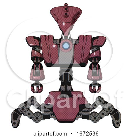 Android Containing Flat Elongated Skull Head and Heavy Upper Chest and Heavy Mech Chest and Blue Energy Fission Element Chest and Insect Walker Legs. Muavewood Halftone. Front View. by Leo Blanchette