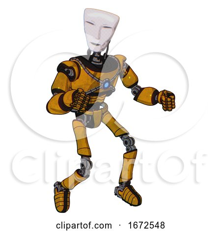 Android Containing Humanoid Face Mask and Light Chest Exoshielding and Blue Energy Core and Ultralight Foot Exosuit. Worn Construction Yellow. Fight or Defense Pose.. by Leo Blanchette