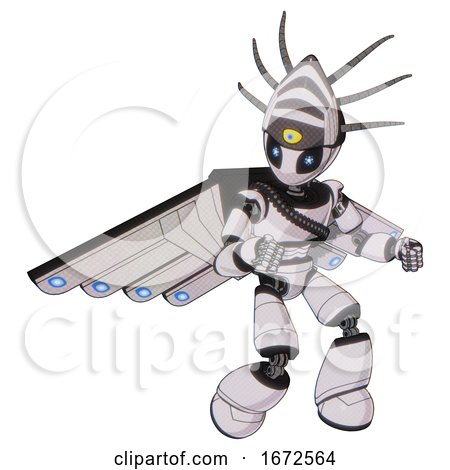 Android Containing Grey Alien Style Head and Electric Eyes and Eyeball Creature Crown and Light Chest Exoshielding and Rubber Chain Sash and Cherub Wings Design and Light Leg Exoshielding. by Leo Blanchette