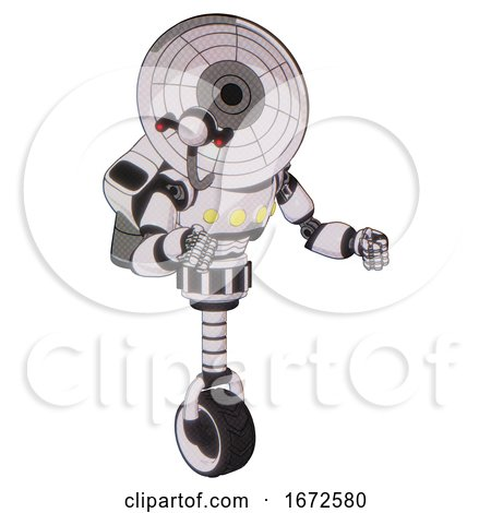 Robot Containing Dual Retro Camera Head and Satellite Dish Head and Light Chest Exoshielding and Yellow Chest Lights and Rocket Pack and Unicycle Wheel. White Halftone Toon. Fight or Defense Pose.. by Leo Blanchette