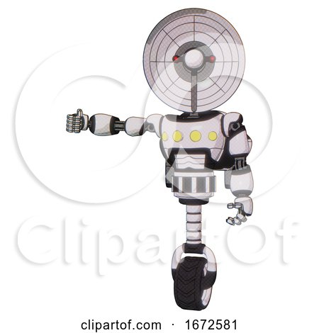 Robot Containing Dual Retro Camera Head and Satellite Dish Head and Light Chest Exoshielding and Yellow Chest Lights and Rocket Pack and Unicycle Wheel. White Halftone Toon. by Leo Blanchette