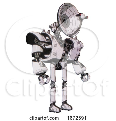 Bot Containing Dual Retro Camera Head and Satellite Dish Head and Heavy Upper Chest and Heavy Mech Chest and Shoulder Spikes and Ultralight Foot Exosuit. White Halftone Toon. Facing Left View. by Leo Blanchette