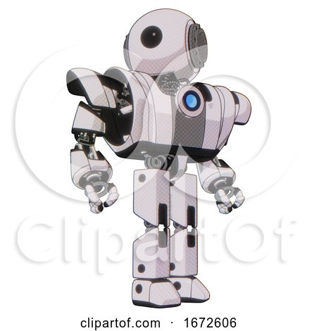 Bot Containing Round Head and Large Cyclops Eye and Heavy Upper Chest and Heavy Mech Chest and Blue Energy Fission Element Chest and Prototype Exoplate Legs. White Halftone Toon. Hero Pose. by Leo Blanchette