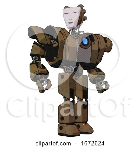 Android Containing Humanoid Face Mask and Heavy Upper Chest and Heavy Mech Chest and Blue Energy Fission Element Chest and Prototype Exoplate Legs. Old Copper. Hero Pose. by Leo Blanchette