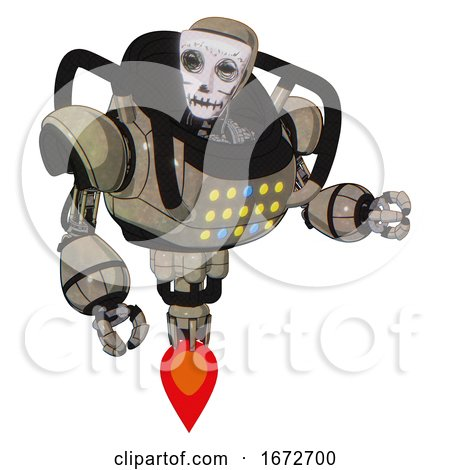 Mech Containing Humanoid Face Mask and Skeleton War Paint and Heavy Upper Chest and Colored Lights Array and Jet Propulsion. Grungy Fiberglass. Fight or Defense Pose.. by Leo Blanchette
