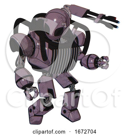 Cyborg Containing Grey Alien Style Head and Black Eyes and Bug Antennas and Heavy Upper Chest and Chest Vents and Prototype Exoplate Legs. Lilac Metal. Fight or Defense Pose.. by Leo Blanchette