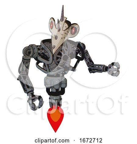Cyborg Containing Bird Skull Head and Red Line Eyes and Heavy Upper Chest and No Chest Plating and Jet Propulsion. Patent Concrete Gray Metal. Fight or Defense Pose.. by Leo Blanchette