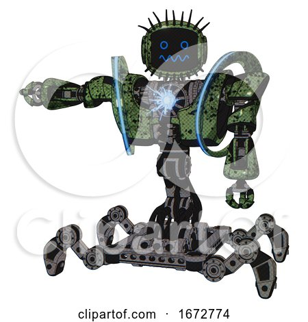 Automaton Containing Digital Display Head and Stunned Expression and Eye Lashes Deco and Heavy Upper Chest and Heavy Mech Chest and Spectrum Fusion Core Chest and Insect Walker Legs. by Leo Blanchette