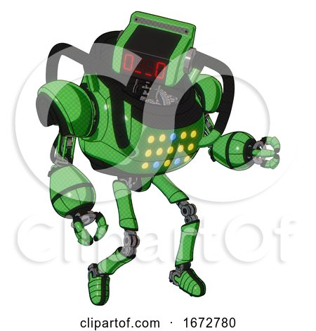 Automaton Containing Dual Retro Camera Head and Clock Radio Head and Heavy Upper Chest and Colored Lights Array and Ultralight Foot Exosuit. Secondary Green Halftone. Fight or Defense Pose.. by Leo Blanchette