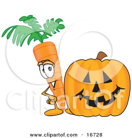 Clipart Picture of an Orange Carrot Mascot Cartoon Character Standing by a Carved Jack-O-Lantern Halloween Pumpkin by Toons4Biz
