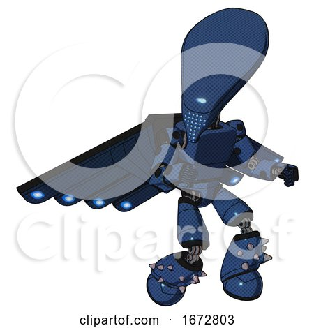 Mech Containing Flat Elongated Skull Head and Light Chest Exoshielding and Prototype Exoplate Chest and Cherub Wings Design and Light Leg Exoshielding and Spike Foot Mod. Dark Blue Halftone. by Leo Blanchette