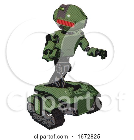 Droid Containing Oval Wide Head and Red Horizontal Visor and Green Led Ornament and Light Chest Exoshielding and Prototype Exoplate Chest and Tank Tracks. Grass Green. Fight or Defense Pose.. by Leo Blanchette