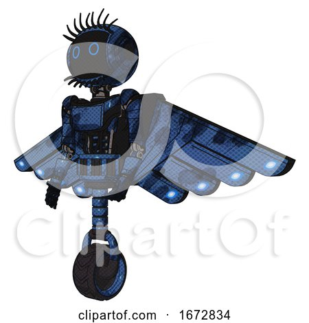 Mech Containing Digital Display Head and Circle Eyes and Eye Lashes Deco and Light Chest Exoshielding and Ultralight Chest Exosuit and Cherub Wings Design and Unicycle Wheel. Grunge Dark Blue. by Leo Blanchette