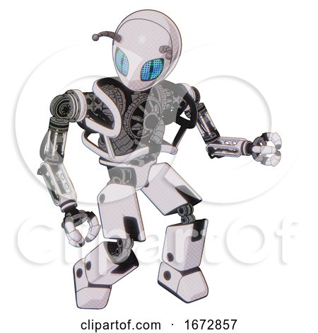 Robot Containing Grey Alien Style Head and Blue Grate Eyes and Bug Antennas and Heavy Upper Chest and No Chest Plating and Prototype Exoplate Legs. White Halftone Toon. Fight or Defense Pose.. by Leo Blanchette