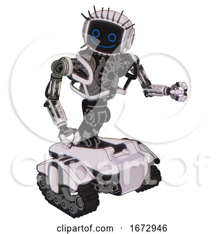 Automaton Containing Digital Display Head and Happy Face and Eye Lashes Deco and Heavy Upper Chest and No Chest Plating and Tank Tracks. White Halftone Toon. Fight or Defense Pose.. by Leo Blanchette