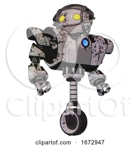 Bot Containing Oval Wide Head and Yellow Eyes and Barbed Wire Cage Helmet and Heavy Upper Chest and Heavy Mech Chest and Blue Energy Fission Element Chest and Unicycle Wheel. Grunge Sketch Dots. by Leo Blanchette
