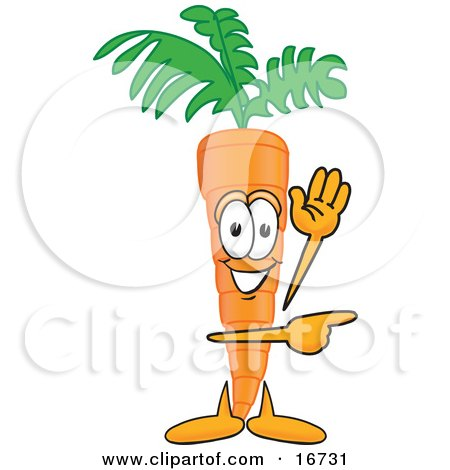Clipart Picture of an Orange Carrot Mascot Cartoon Character Waving and Pointing to the Right by Toons4Biz