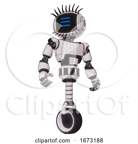 Mech Containing Digital Display Head and Three Horizontal Line Design and Eye Lashes Deco and Light Chest Exoshielding and Chest Green Blue Lights Array and Unicycle Wheel. White Halftone Toon. by Leo Blanchette