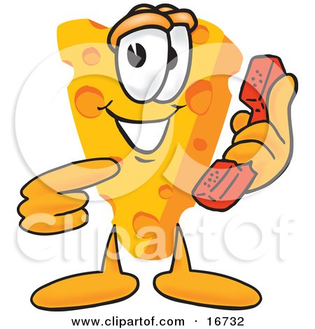 Clipart Picture of a Wedge of Orange Swiss Cheese Mascot Cartoon Character Pointing to and Holding a Red Phone by Toons4Biz