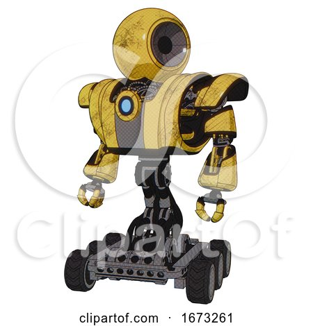 Cyborg Containing Round Head and Heavy Upper Chest and Heavy Mech Chest and Blue Energy Fission Element Chest and Six-wheeler Base. Construction Yellow Halftone. Standing Looking Right Restful Pose. by Leo Blanchette
