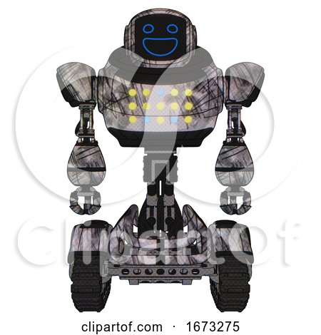 Automaton Containing Digital Display Head and Wide Smile and Heavy Upper Chest and Colored Lights Array and Tank Tracks. Scribble Sketch. Front View. by Leo Blanchette