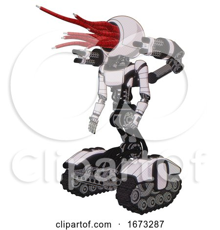 Mech Containing Bright Red Jellyfish Tentacles Fiber Optic Design and Light Chest Exoshielding and Ultralight Chest Exosuit and Minigun Back Assembly and Tank Tracks. White Halftone Toon. by Leo Blanchette