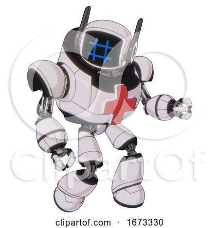 Cyborg Containing Digital Display Head and Hashtag Face and Winglets and Heavy Upper Chest and First Aid Chest Symbol and Light Leg Exoshielding. White Halftone Toon. Fight or Defense Pose.. by Leo Blanchette
