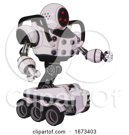 Automaton Containing Three Led Eyes Round Head and Heavy Upper Chest and Chest Energy Sockets and Six-wheeler Base. White Halftone Toon. Interacting. by Leo Blanchette