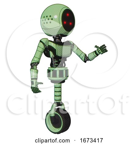 Droid Containing Three Led Eyes Round Head and Light Chest Exoshielding and Ultralight Chest Exosuit and Unicycle Wheel. Green Tint Toon. Interacting. by Leo Blanchette