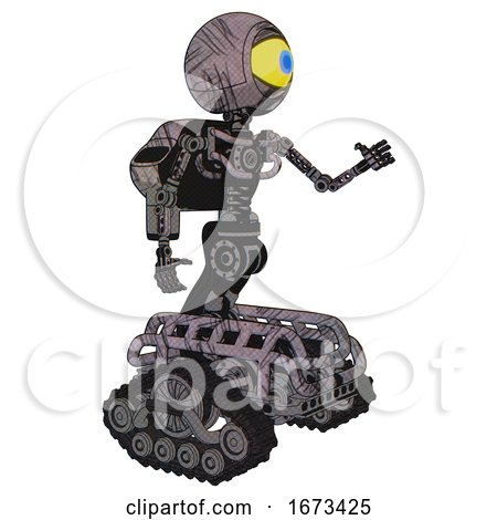 Robot Containing Giant Eyeball Head Design and Light Chest Exoshielding and Rocket Pack and No Chest Plating and Tank Tracks. Dark Sketchy. Interacting. by Leo Blanchette