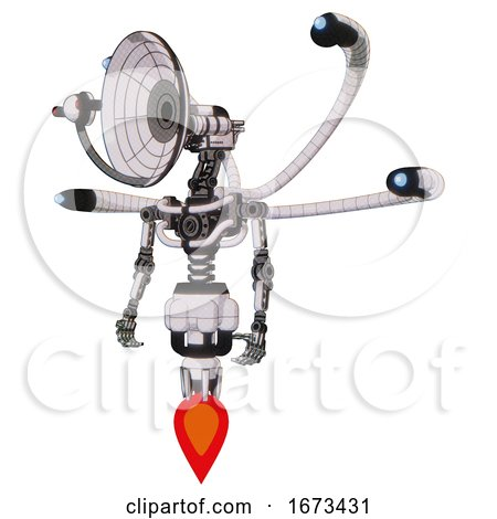 Cyborg Containing Dual Retro Camera Head and Satellite Dish Head and Light Chest Exoshielding and Blue-eye Cam Cable Tentacles and No Chest Plating and Jet Propulsion. White Halftone Toon. by Leo Blanchette