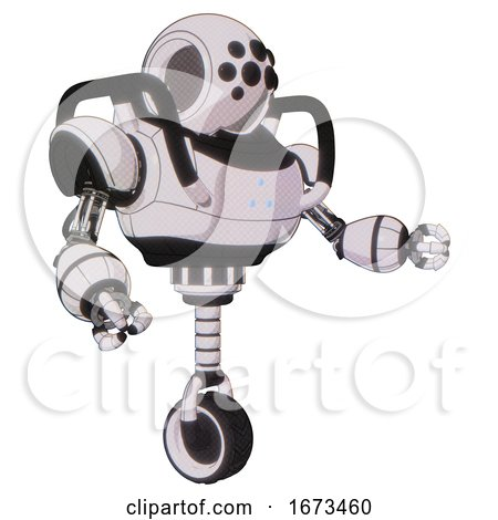 Automaton Containing Round Head and Bug Eye Array and Heavy Upper Chest and Triangle of Blue Leds and Unicycle Wheel. White Halftone Toon. Interacting. by Leo Blanchette