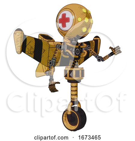 Robot Containing Round Head and Yellow Eyes Array and First Aid Emblem and Light Chest Exoshielding and Stellar Jet Wing Rocket Pack and No Chest Plating and Unicycle Wheel. by Leo Blanchette