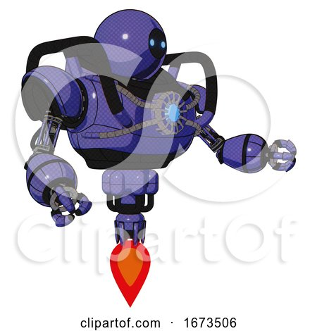 Droid Containing Dual Retro Camera Head and Black Circle Blue Eyes Head and Heavy Upper Chest and Chest Blue Energy Core and Jet Propulsion. Primary Blue Halftone. Interacting. by Leo Blanchette