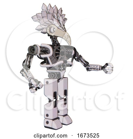 Cyborg Containing Bird Skull Head and White Eyeballs and Bird Feather Design and Heavy Upper Chest and No Chest Plating and Prototype Exoplate Legs. White Halftone Toon. Interacting. by Leo Blanchette