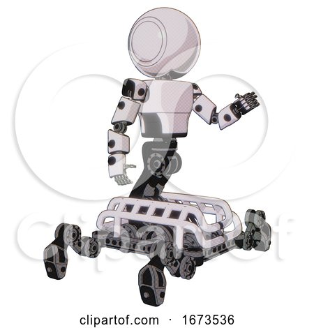 Bot Containing Round Head and Light Chest Exoshielding and Prototype Exoplate Chest and Insect Walker Legs. White Halftone Toon. Interacting. by Leo Blanchette