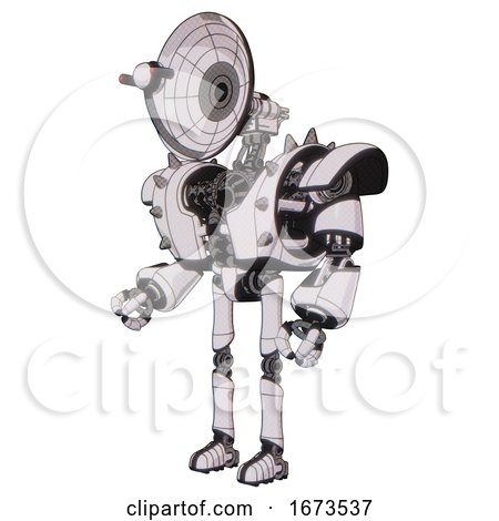 Bot Containing Dual Retro Camera Head and Satellite Dish Head and Heavy Upper Chest and Heavy Mech Chest and Shoulder Spikes and Ultralight Foot Exosuit. White Halftone Toon. Facing Right View. by Leo Blanchette