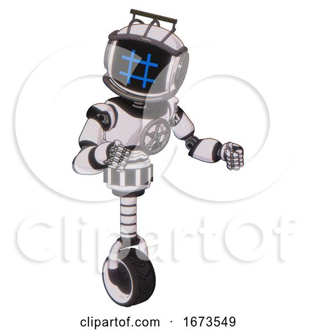 Bot Containing Digital Display Head and Hashtag Face and Led and Protection Bars and Light Chest Exoshielding and Chest Valve Crank and Unicycle Wheel. White Halftone Toon. Fight or Defense Pose.. by Leo Blanchette