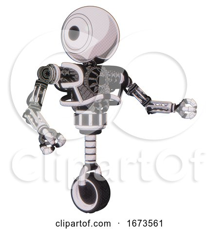 Automaton Containing Round Head and Heavy Upper Chest and No Chest Plating and Unicycle Wheel. White Halftone Toon. Interacting. by Leo Blanchette