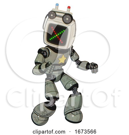 Bot Containing Old Computer Monitor and Colored X Display and Old Computer Magnetic Tape and Light Chest Exoshielding and Yellow Star and Light Leg Exoshielding. Green Metal. Fight or Defense Pose.. by Leo Blanchette