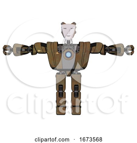 Android Containing Humanoid Face Mask and Heavy Upper Chest and Heavy Mech Chest and Blue Energy Fission Element Chest and Prototype Exoplate Legs. Old Copper. T-pose. by Leo Blanchette
