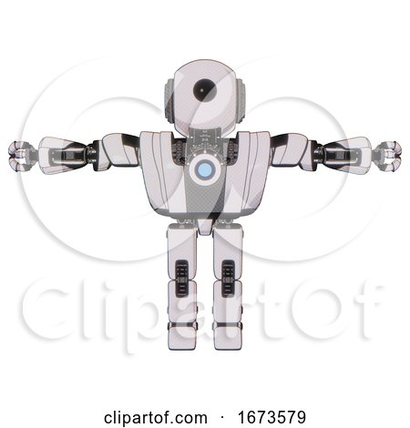 Bot Containing Round Head and Large Cyclops Eye and Heavy Upper Chest and Heavy Mech Chest and Blue Energy Fission Element Chest and Prototype Exoplate Legs. White Halftone Toon. T-pose. by Leo Blanchette