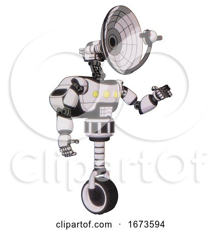 Robot Containing Dual Retro Camera Head and Satellite Dish Head and Light Chest Exoshielding and Yellow Chest Lights and Rocket Pack and Unicycle Wheel. White Halftone Toon. Interacting. by Leo Blanchette