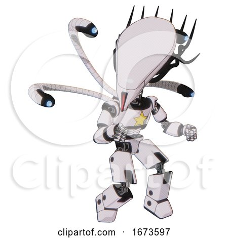 Android Containing Flat Elongated Skull Head and Cables and Light Chest Exoshielding and Yellow Star and Blue-eye Cam Cable Tentacles and Prototype Exoplate Legs. White Halftone Toon. by Leo Blanchette