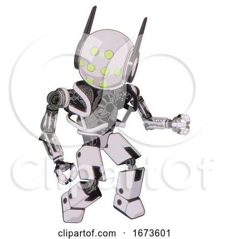Bot Containing Round Head and Green Eyes Array and Head Winglets and Heavy Upper Chest and No Chest Plating and Prototype Exoplate Legs. White Halftone Toon. Fight or Defense Pose.. by Leo Blanchette
