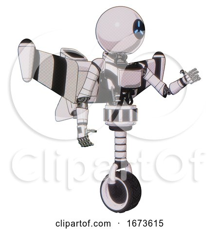 Robot Containing Dual Retro Camera Head and Three-dash Cyclops Round Head and Light Chest Exoshielding and Ultralight Chest Exosuit and Stellar Jet Wing Rocket Pack and Unicycle Wheel. by Leo Blanchette